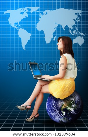 Lady on globe look at the World map : Elements of this image furnished by NASA