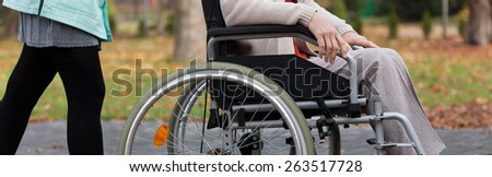 Lady on wheelchair and nurse in park - stock photo