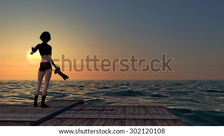 Lady Photographer On A Dock At Sunset With A DSLR Camera