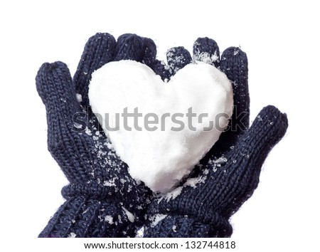 Lady's glove and snow heart - stock photo