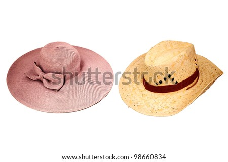 Lady's hat and straw hat - stock photo