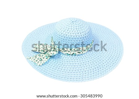 lady's hat isolated on a white background,blue beach hat  with clipping path . - stock photo
