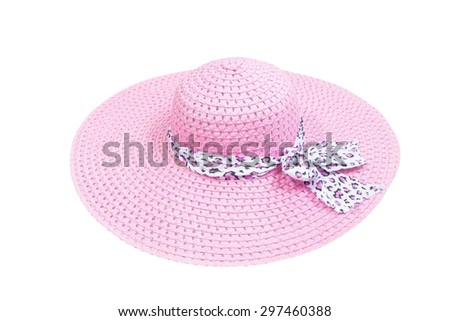 lady's hat isolated on a white background,pink beach hat  with clipping path . - stock photo