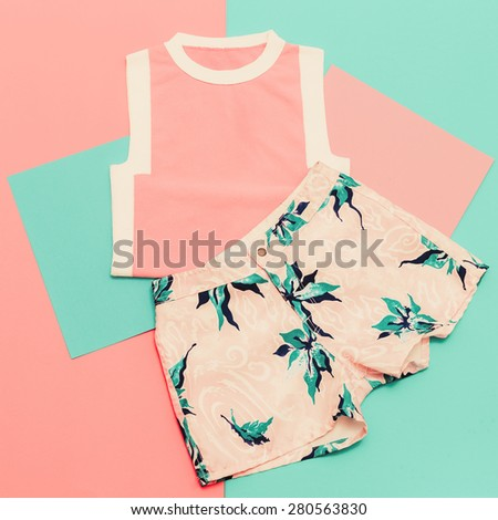 Lady set. Vanilla summer style. Trendy T-shirt and Shorts. - stock photo