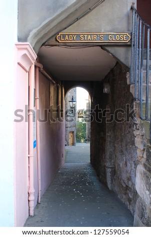 Lady stair's close at Royal mile, Edinburgh, Scotland - stock photo
