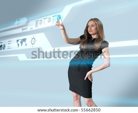 Lady touching hi-tech - Interfaces collection - stock photo