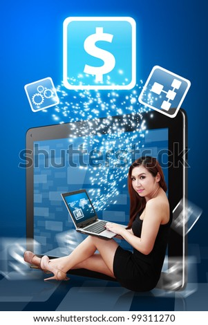 Lady use notebook computer and money icon from Tablet PC