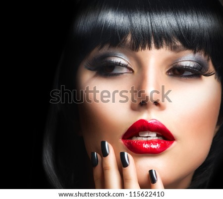 Lady Vamp Style. Brunette Woman close-up Portrait - stock photo