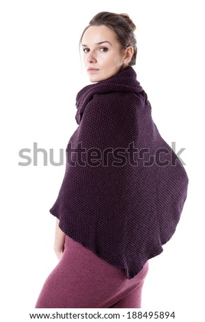 Lady wearing kimono sweater on isolated background - stock photo