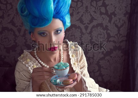 Lady with blue hair - stock photo