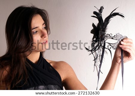 Lady with carnival mask - stock photo