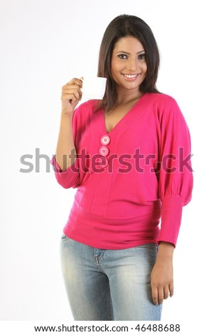 Lady with pink costume having cup of tea - stock photo