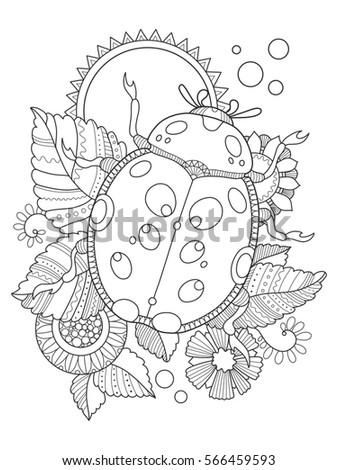 Ladybug Coloring Book Raster Illustration Antistress Stock ...