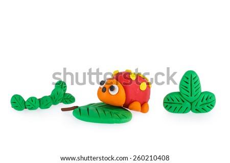 Ladybug from plasticine - stock photo