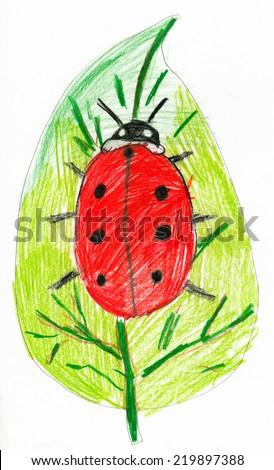 ladybug on leaf. child drawing. - stock photo