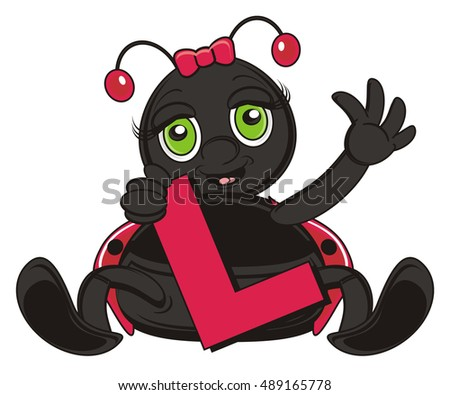 ladybug sit and hold in his paws a letter L