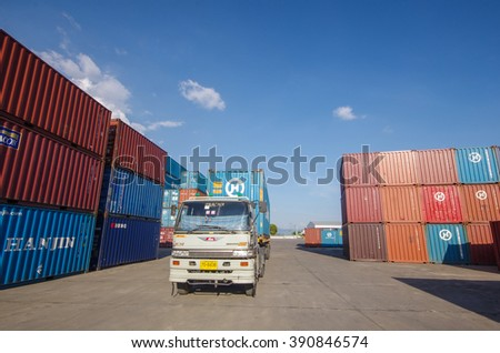 LAEM CHABANG -MARCH 10 : Containers transfer within yard at Laem Chabang commercial port on March 10, 2016 in Laem Chabang, Thailand