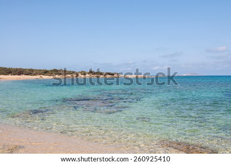 Lafrakas is a dreamy beach in the north of Gavdos, Greece. Gavdos is the southernmost island in Europa. Many hippies and dropouts live the whole year at one of the beaches  - stock photo