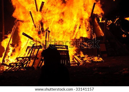 Lag Ba'Omer - Traditional bonfires on Jewish Holiday - stock photo