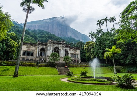 Lage Park mansion with Corcovado Mountain on the back, Tijuca Forest National Park, Rio de Janeiro, Brazil - stock photo