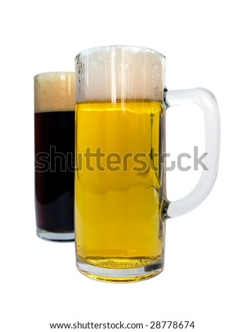 Lager and dark beer in glass mugs isolated on white background with clipping path