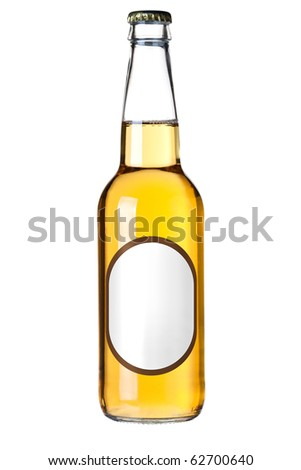 Lager beer bottle with blank label. Isolated on white background