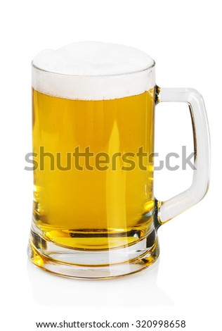 lager beer in a mug on a white background  - stock photo