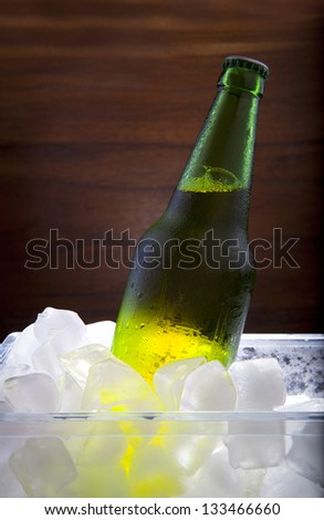 lager beer in ice cooler beverage theme - stock photo