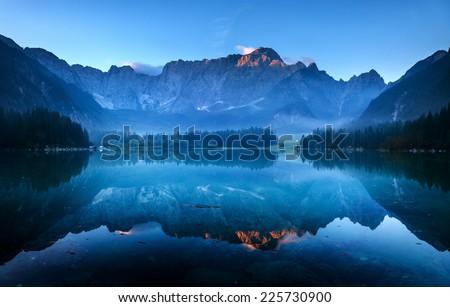 laghi di fusine-mountain lake in the Italian Alps - stock photo