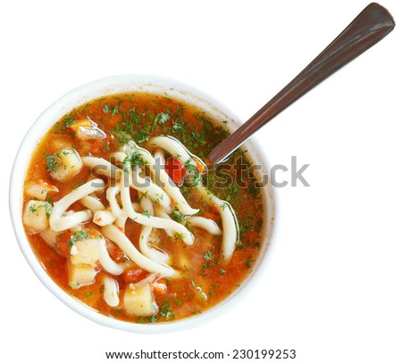 laghman soup in white bowl isolated on white background