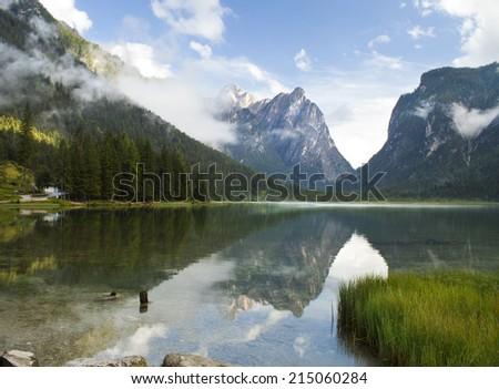 Lago di Dobiacco lake in Italy - stock photo