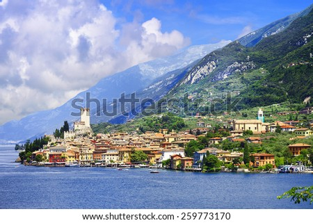 lago di Garda, pictorial Malcesine town - stock photo