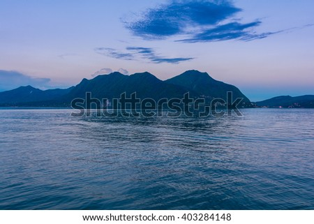 Lago Maggiore at dusk, view from Verbania in Northern Italy