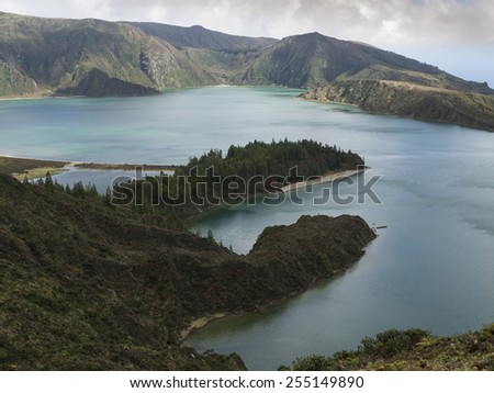 lagoa do Fogo, a volcanic crater, S.Miguel Island,the Azores - stock photo