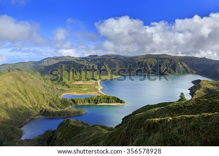 Lagoa do Fogo and green valley on San Miguel island of Azores