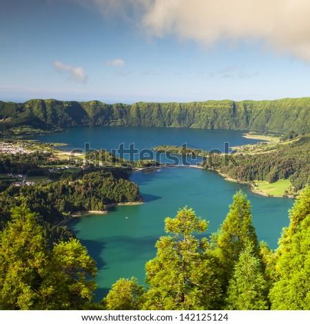Lagoa Sete Cidades on Azores island - stock photo