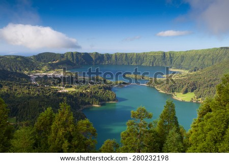 Lagoa Sete Cidades on Azores island - stock photo