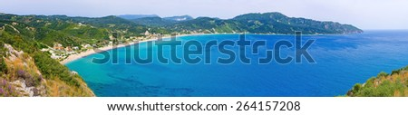 Lagoon and high cliffs near Agios Georgios - Corfu, Greece - stock photo