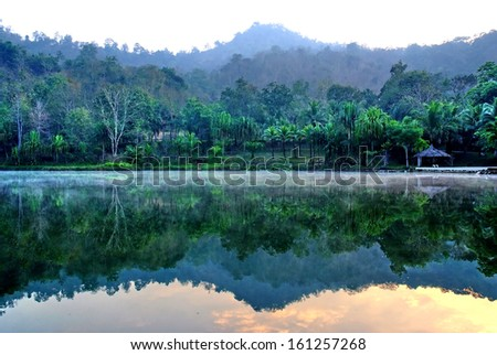Lagoon and Mountains , Water reflection