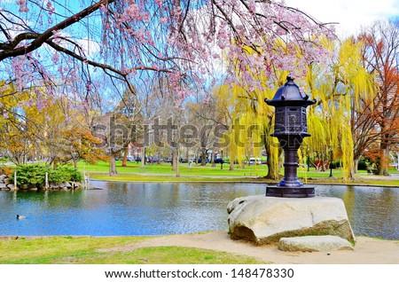 Lagoon at Boston Public Garden in Boston, Massachusetts, USA. - stock photo