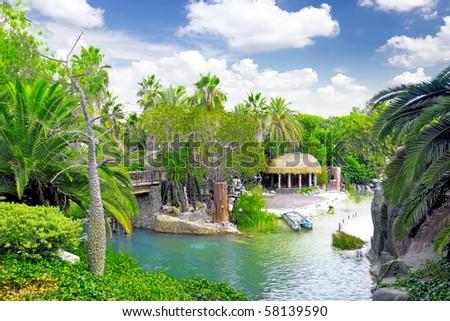 Lagoon  in French Polynesia. - stock photo