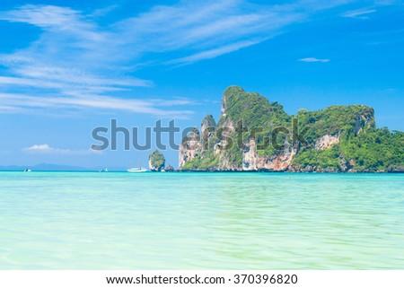 Lagoon Mountains Heaven Horizon  - stock photo