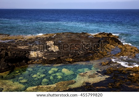 lagoon sky cloud beach  water  coastline and summer in lanzarote spain - stock photo