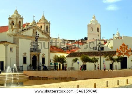 Lagos, Algarve, Portugal - October 28, 2015 : The historical Santa Maria Church in Lagos - stock photo