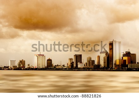 Lagos smog filled, polluted skyline - stock photo