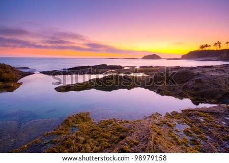 Laguna Beach at sunset, California - stock photo