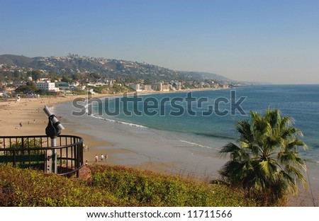 Laguna Beach California Main Beach looking south towards Dana Point - stock photo