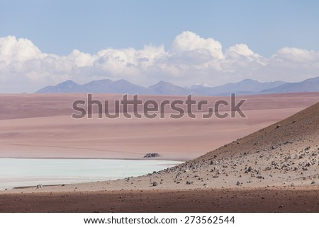 Laguna, Bolivia. Natural curves with red desert terrain and mountain and clouds background - stock photo