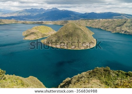 Laguna Cuicocha - volcanic crater lake in Ecuador - stock photo