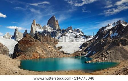 Laguna de Los Tres and mount Fitz Roy, Los Glaciares National Park, Patagonia, Argentina - stock photo